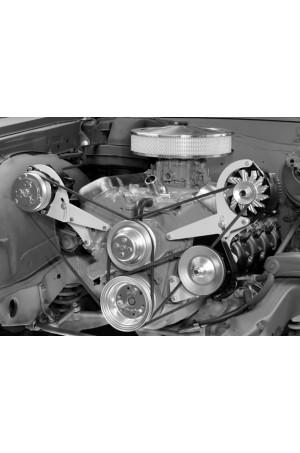Alan Grove Big Block Chevy Short Water Pump Alternator & Power Steering Pump Brackets for 1964-1968 Chevy Chevelle (Part # 601L)